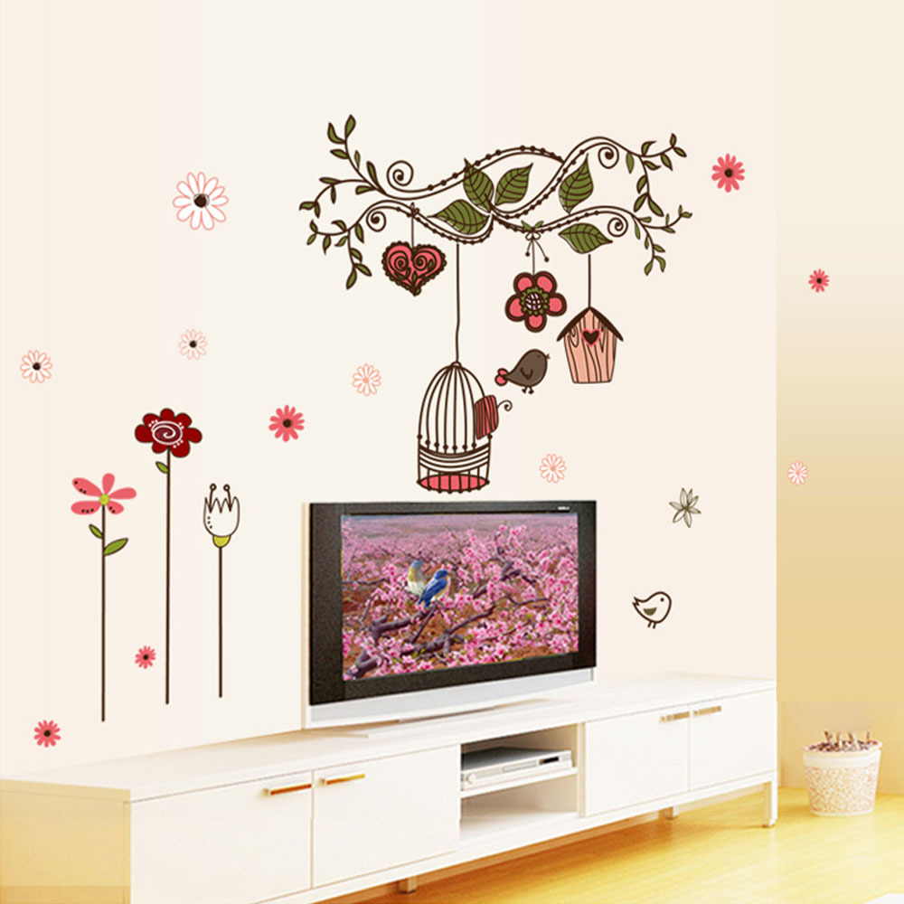 Beautiful flowers cartoon bird cage vine diy wall stickers for Diy wall photo mural