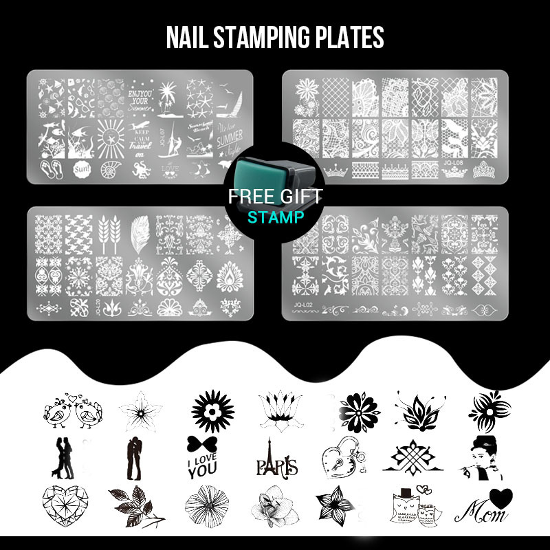 6pcs Stamping Plates set 1 and Stamper Scraper Nail Art Polish Stamp Stencils DIY Nail Art Template Set Manicure Nail Tools(China (Mainland))