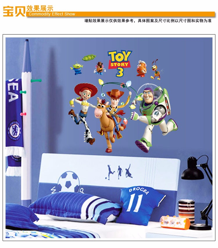 Toy Story3 Cartoon Wall Stickers for boy Kids Rooms lovely characters Home Decorations Wall Decal Poster Art Wallpaper Kids