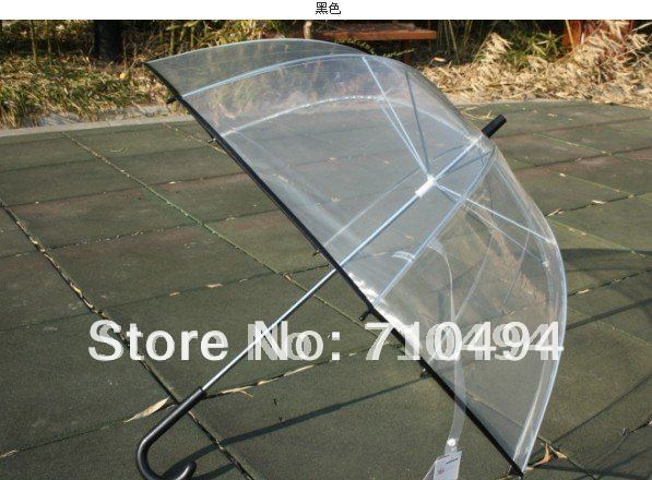 1 free DHL shipping black lace trim clear bubble umbrella, korean style dome shape transparent umbrella - Show You The Best store