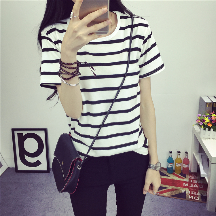 2016 summer Hot Sale Korean Institute of wind striped t-shirt women's short-sleeved shirt simple T shirts loose student(China (Mainland))