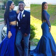 2016 Royal Blue Mermaid Two Pieces Prom Dresses High Neck Sequined Beaded Long Sleeves Evening Party Gowns robe de soiree EV80