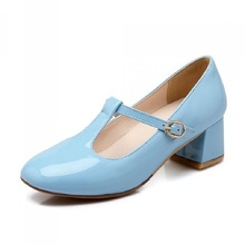 Buy Sexy Japanned Leather Women Sweet Lolita Bowknot Cuban Low Heel T Strap Mary Janes Pumps Women Party Shoes Big Size 34~43 for $23.80 in AliExpress store