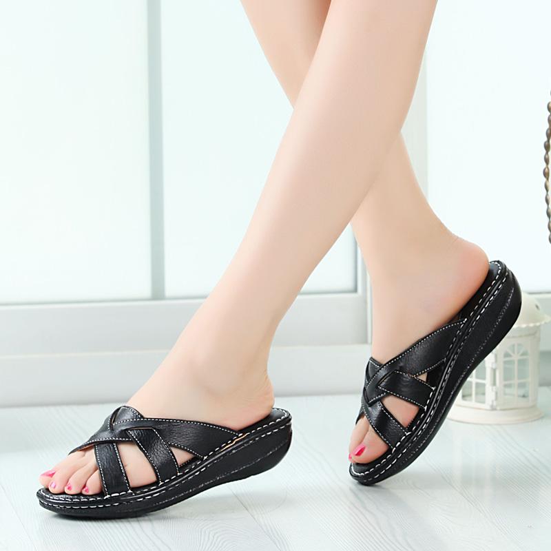 2015 genuine leather female sandals wedges platform women's shoes platform cutout sandals summer slides