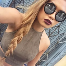 New Summer style Women cropped top White cute Vest Tanks sleeveless lace up suede Crop top Camisole(China (Mainland))