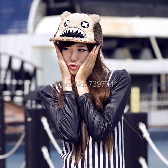 Cute Winter Cartoon Fashion Shark Mouth Cap Hip-Hop Snapback Caps Hats For Women Free Shipping(China (Mainland))