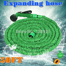 50FT Water Hose Flexible Expandable Hose Pipe Light Weight Non Kink Water Spray Nozzle Pocket Hose Blue/Green(China (Mainland))