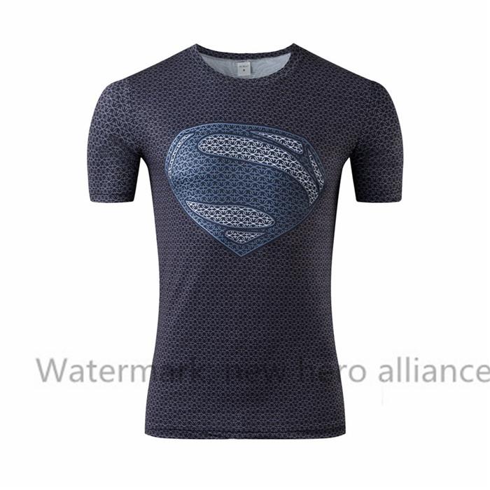Superman gym muscle men's shirt, T-shirt, fitness equipment fitness male iron man, spider-man man sportswear batman armor(China (Mainland))