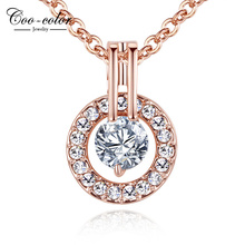 Fashion Classic Necklace 18K Rose Gold Plated Austrian Crystal Round Pendant Necklace For Women Wedding Jewelry Gift Bijoux(China (Mainland))