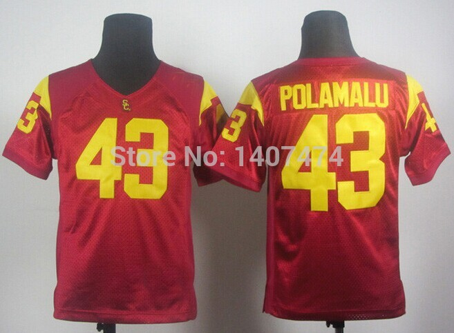Good Quality Hot Sale/Kids NCAA football jersey USC Trojans Troy Polamalu 43 youth College Football Jersey Embroidery logos ,(China (Mainland))