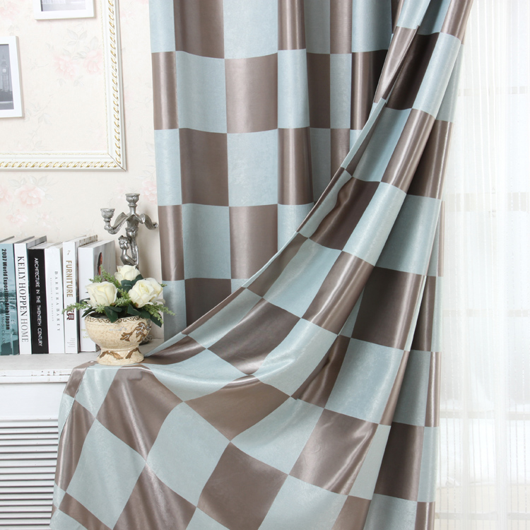 Modern drapery curtain white striped voile fabric plaid blackout cloth decorative tulle for sitting room/living room(China (Mainland))