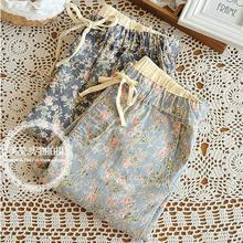 Free shipping fashion fresh Japanese Forestry small floral art print jeans pants pencil pants pantyhose feet(China (Mainland))