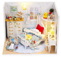 U005 New Arrive DIY Doll Home Miniature boy's bed room picket dollhouse furnishings miniatures for adornment free delivery