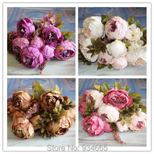 1pcs Bouquet European Silk Flowers Artificial Fall Vivid Peony Fake Leaf Wedding Home Party Decoration(China (Mainland))