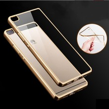 Soft TPU Cover Huawei P8 98Lite P9 Lite Case Cases Phone Shell Electroplating Edge Clear Ultrathin Silicon - Mobile Accessories/Case And Mp3 Store store