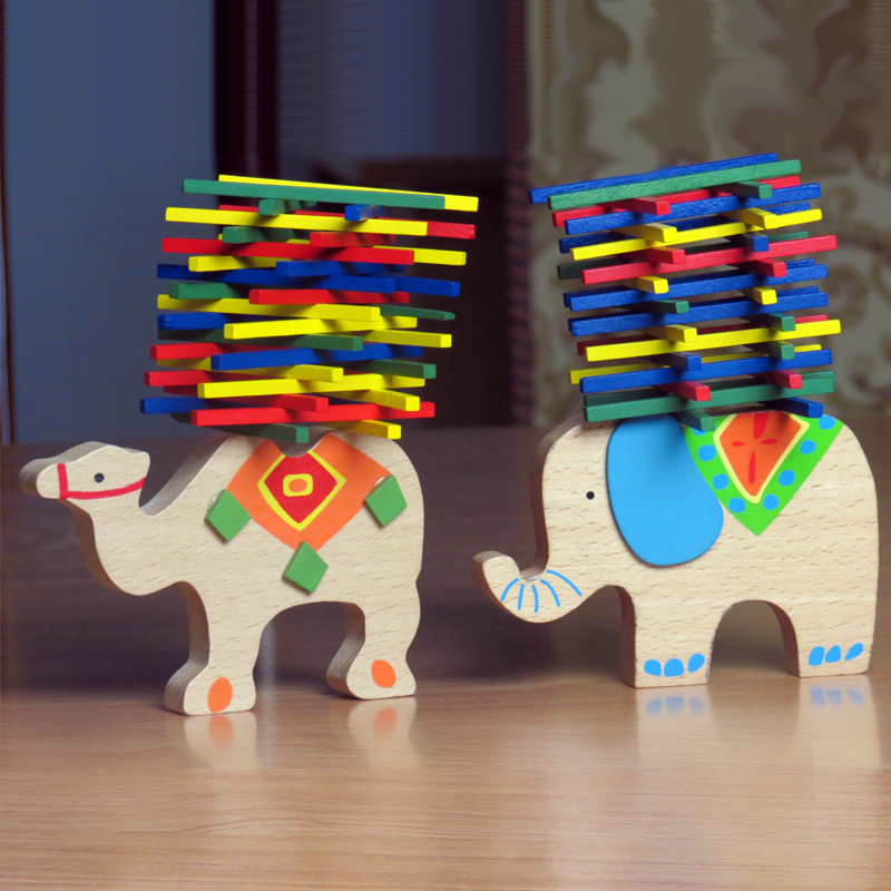 Baby Toys Educational Elephant Camel Balancing Blocks Wooden Toys Beech Wood Balance Game Montessori Blocks Gift