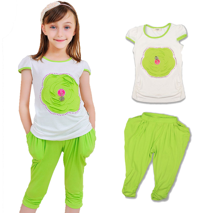 Kids Tracksuit Cotton Casual Summer Girls Clothing Set