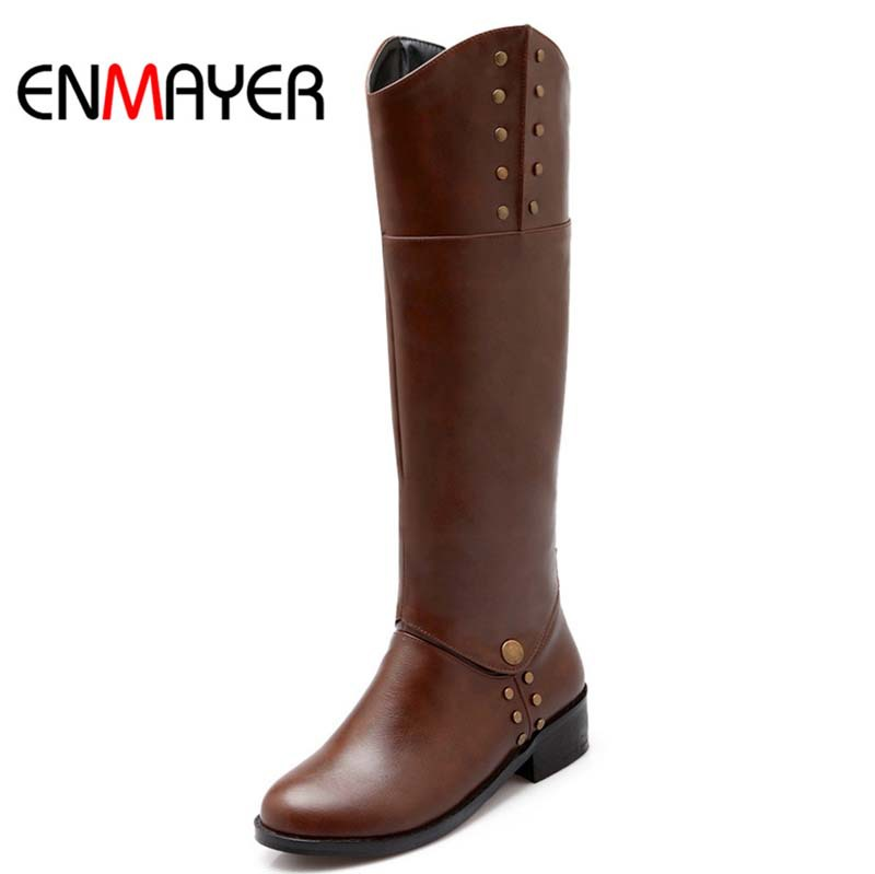 ENMAYERNew Fashion Women Boots Europe Round Toe The Knee High Boots Morden Motorcycle Boots Shoes Rivet Square Martin Boots<br><br>Aliexpress