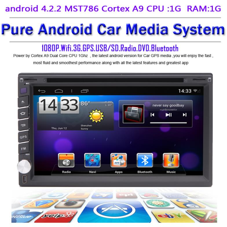 Pure android 4.2.2 Universal Two Din Car DVD Radio Tape recorder dual Core CPU:1G RAM:1G WIFI 3G audio video player Freemap - Quick Krist's store