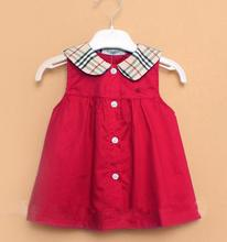 B* Hot Sale 2015 Baby Girl England Style Cotton Dress Kid Cute Fashion Dresses O Neck Knee Length Sleeveless Plaid Free Shipping