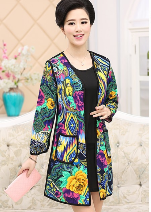 Spring New Middle-Aged Women Trench Coat Two Piece Fashion Long Large Size Temperament Print Slim Women Coat Q280(China (Mainland))