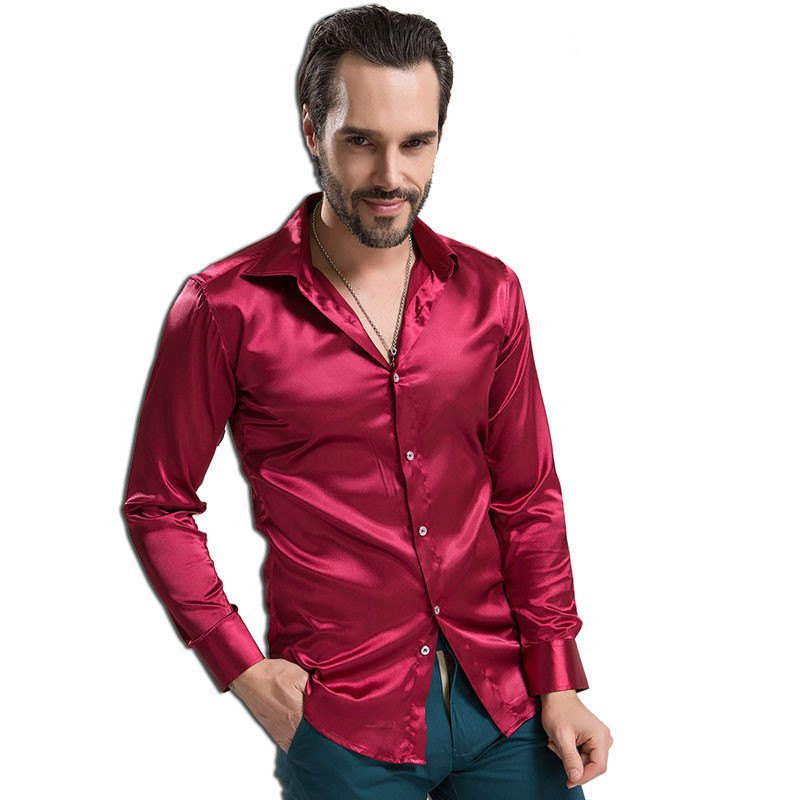 90 4xl plus size silk mens dress shirts slim fit casual