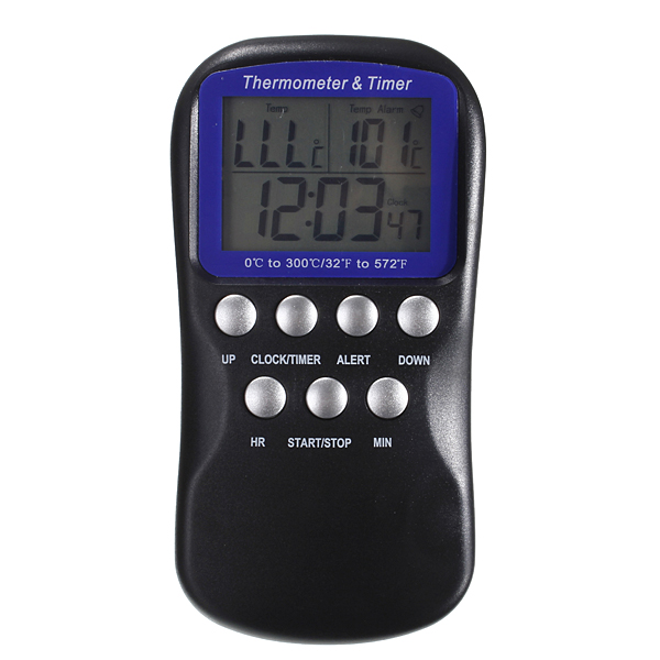 Digital Oven Timer/Food Thermometer With Silver Probe