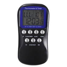 Digital Kitchen Timer Oven BBQ Thermometer Cooking Food Clock With Silver Probe