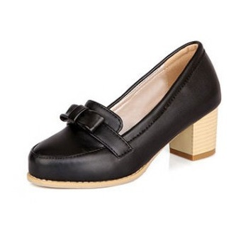 Spring Autumn Style Ladies Shoes Thick Heel Woman High Heels Square Round Toe Bowtie Slip-On Size 31-43