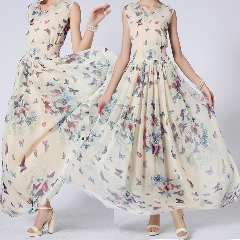 Puls Size S-3XL Women's Dress Chiffon Bohemian Beach dresses Summer maxi butterfly Print Girls Dress Long Blue Dress TOP 315718(China (Mainland))