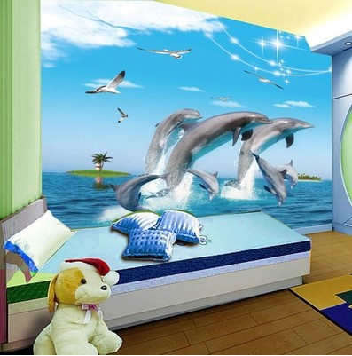 3d underwater world dolphin cartoon children 39 s room for Dolphin mural wallpaper