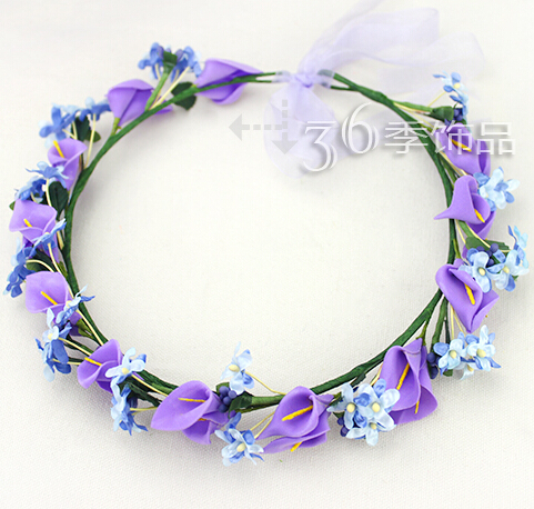 6Color 2015 flower crown floral garlands hair accessories for women girls headband tiara ornament flores coroa headwears(China (Mainland))