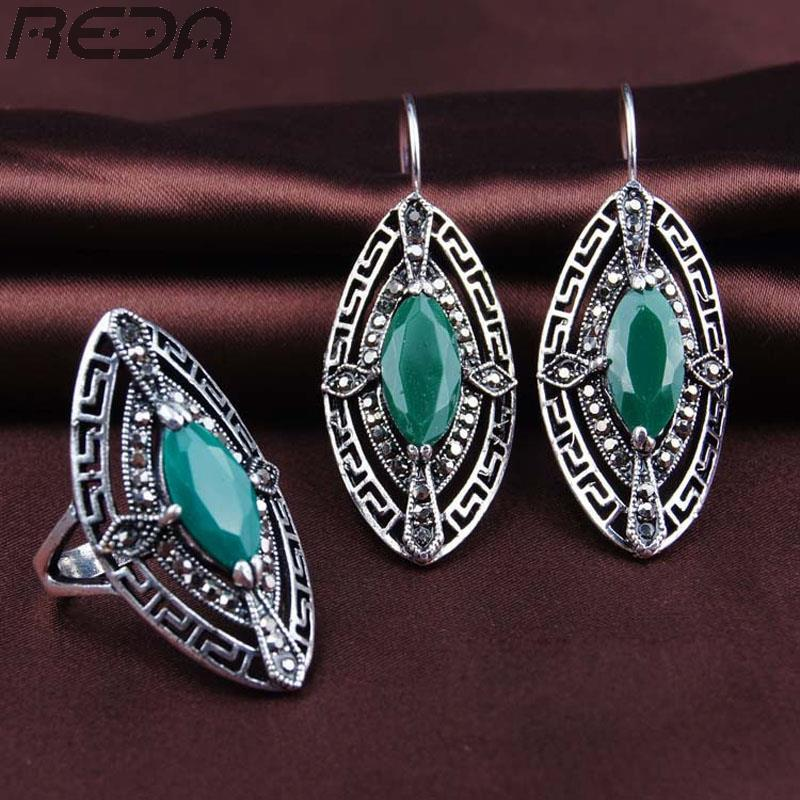 Vintage Retro Ethnic Rings Earrings Jewelry Sets .Fashion White Gem Section Turquoise Wedding Jewelry For Women(China (Mainland))