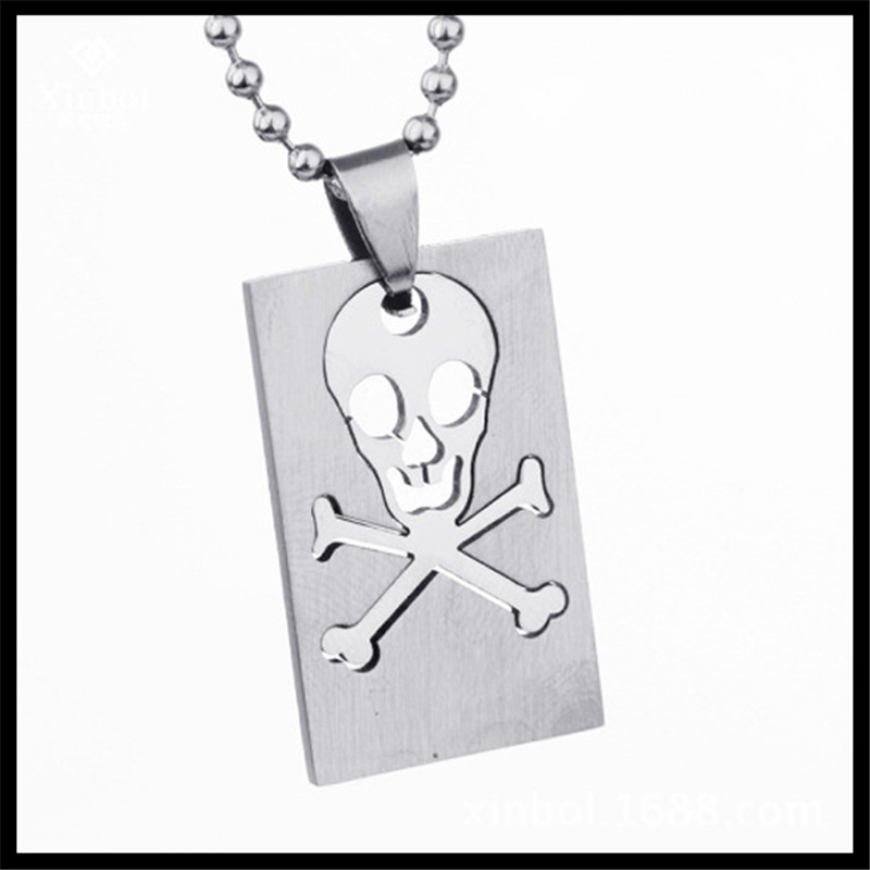 Trendy Jewelry Poisonous Sign Logo Dog Tag Pendant Necklace Two Piece Cut Army Stainless Steel Army Dog Tag Pendant Necklace(China (Mainland))