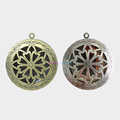 20pcs Inner 24mm Round Hollow Vintage Aromatherapy Lockets Essential Oil Diffuser Memory Photo Lockets Pendants For