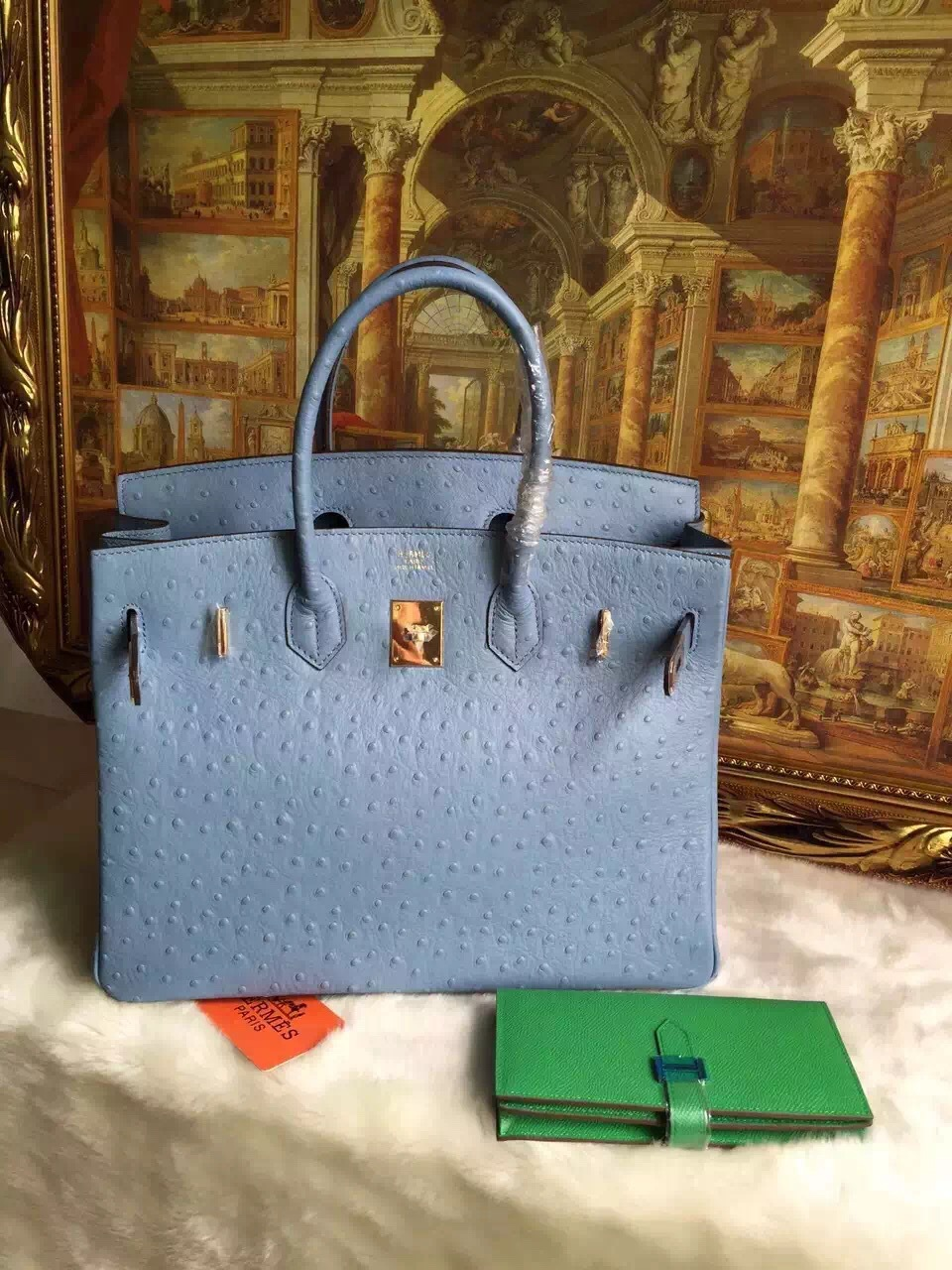 Free shipping light blue 35cm genuine togo leather ostrich women's shoulder bags shopping bags handbags gold/silver bucklet(China (Mainland))