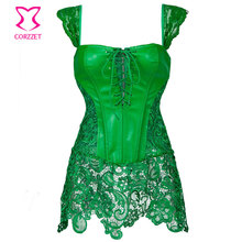 2016 Green Floral Lace&Leather Plus Size Waist Training Corset Dress Steampunk Sexy Lingerie Korsett For Women Gothic Clothing