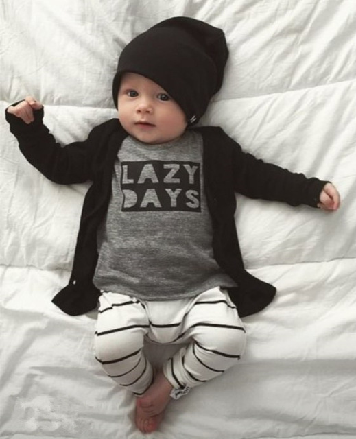 Autumn baby boy clothes fashion cotton long sleeved letter t-shirt+pants