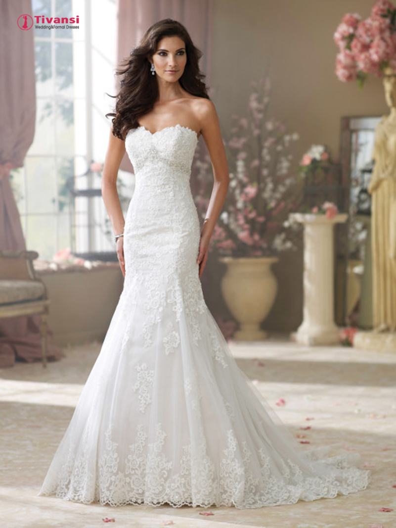 Tivansi elegant lace mermaid wedding dresses sweetheart for What to do with my wedding dress