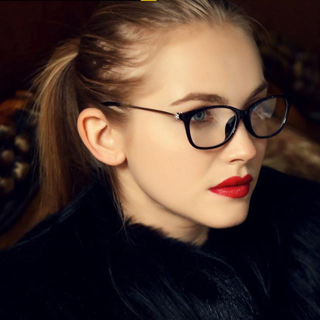 Vintage grado diamante lentes Eyewear enmarca mujeres marcos para mujer señora óptica grado montura de gafas