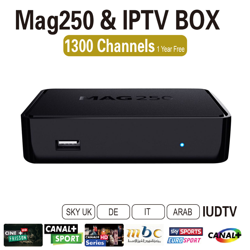 Linux IPTV Box Mag 250 Iptv Set Top Box IPTV Account Include One Year Sky/Greek/Portuguese/Spanish/Indina/English Channels