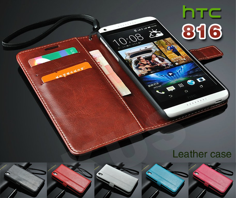 Deluxe Leather Case for HTC Desire 816 800 D816W Card Holder Wallet With Stand Phone Bag Cover 3 Card Holders And 1 Bill Side(China (Mainland))