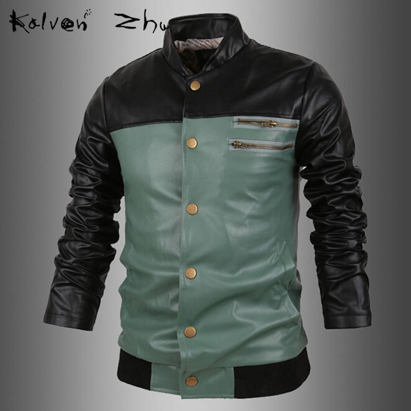 Patchwork Spring New 2015 Korean Male Slim Motorcycle Leather Blazer Fashion PU Jacket Mens Suit M-XXL MJ067 - Karen Mok store
