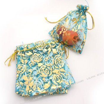 150x Dark Blue with Gold Rose Wedding Candy Gift  Bags Organza Package Pouches Bags 10x12cm 120195