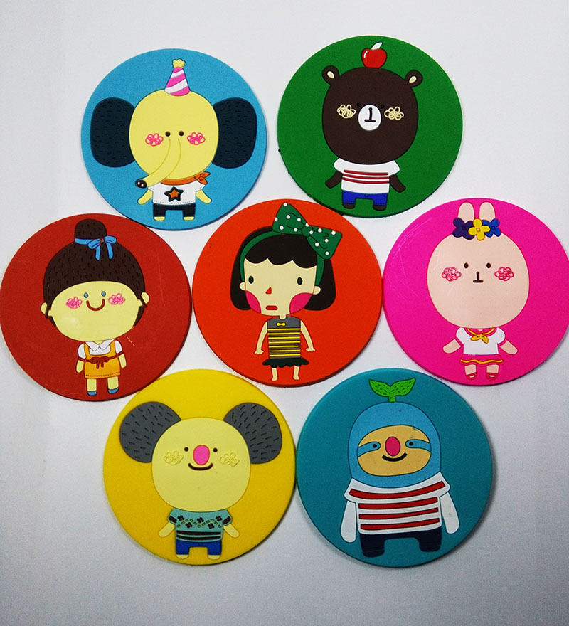3Pcs fashion cute cartoon cup mat Silicone Coaster Coffee Table Cup Mats Pad Placemat Kitchen Accessories(China (Mainland))
