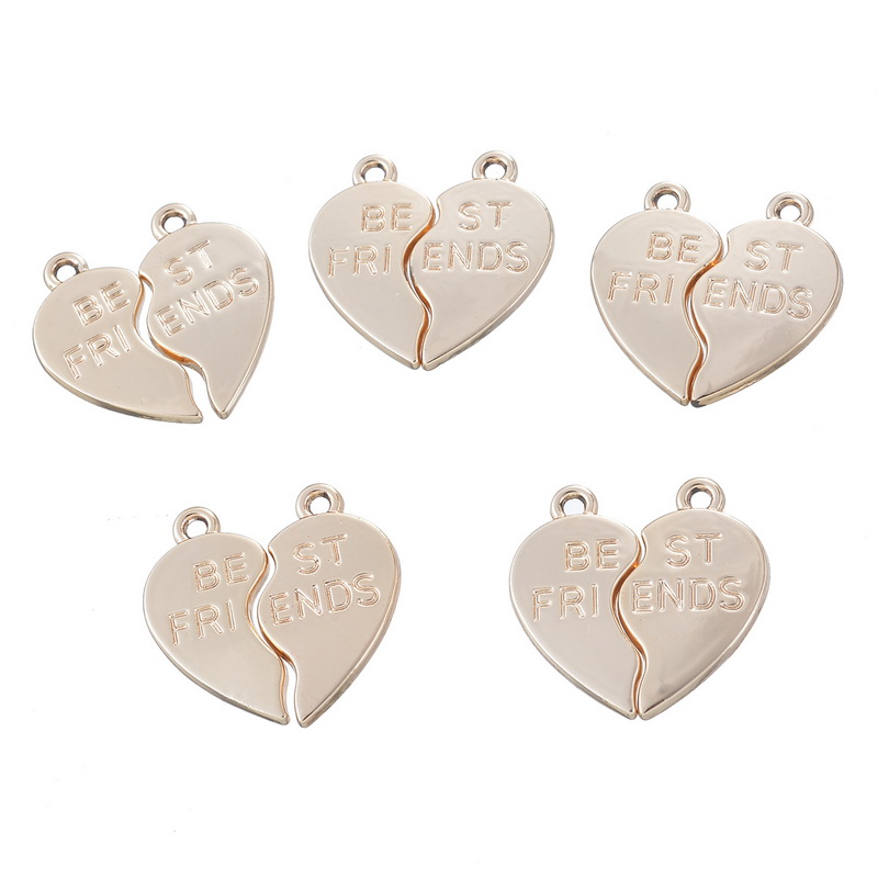 "Zinc Alloy Broken Heart Pendants Engrave""Best Friends""Light Golden Fashion Friendship Jewelry Accessories 4*5Pairs(China (Mainland))"
