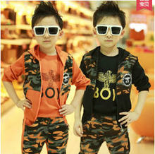 2015 Newest Boys 3 Pcs Camouflage Army Uniforms Suits 2-10Years Old Casual Military Clothings Sets Black/Orange/Army Green S2448(China (Mainland))