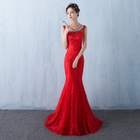 Scoop Neck Lace Mermaid Evening Dress With Crystal Red 2016 Long Evening Gowns For Party Lace Up