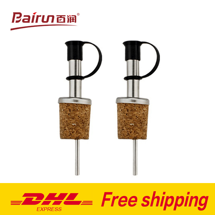 DHL free shipping wholesale $4.7/set stainless steel multifunctional wine stopper liquor spirit pourer wine spout cheap bar tool