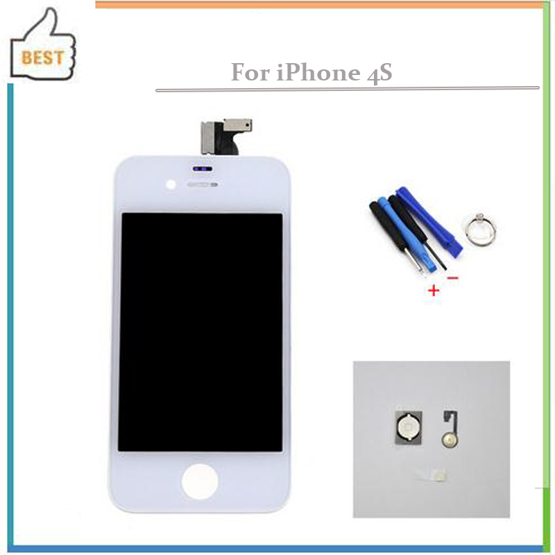 white For iPhone 4S LCD Display Digitizer Touch Screen Assembly Replacement + tools + menu button flex cable Free shipping(China (Mainland))